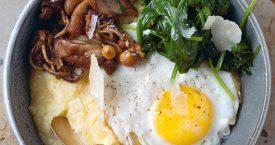 Zachte polenta, paddenstoelen & spinazie