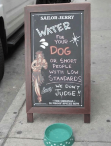 sign water for dogs or small people