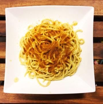 Spaghetti al pesto di carciofi e bottarga
