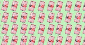 Roze Coca-Cola blikjes