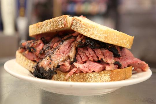 pastrami on sandwich